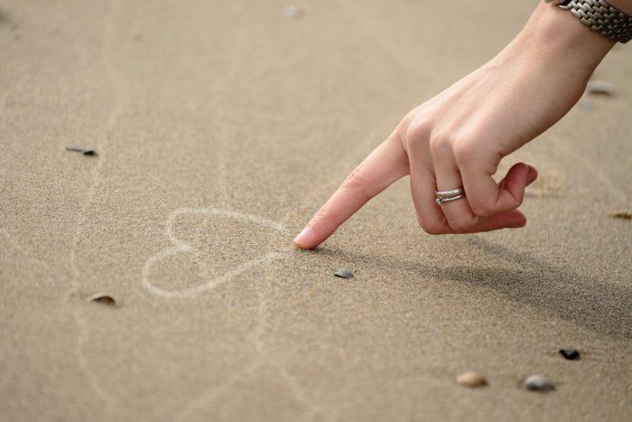砂に書いた♡